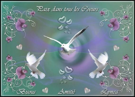 Paix dans tous les Coeurs-Amitié-Bisous de Lynea
