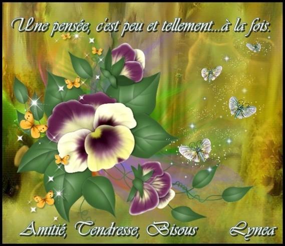 une pensée, c'est peu et beaucoup à la fois---amitié, tendresse, bisous de Lynea