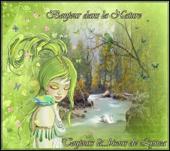Bonjour dans la nature-toujours là---bisous de Lynea