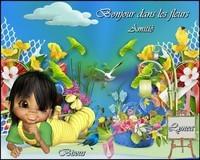 Bonjour dans les fleurs-amitié-bisous de Lynea