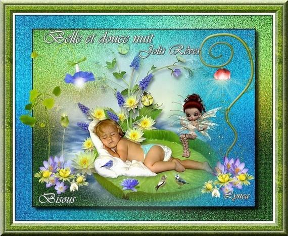 Belle et douce nuit jolis rêves bisous de Lynea