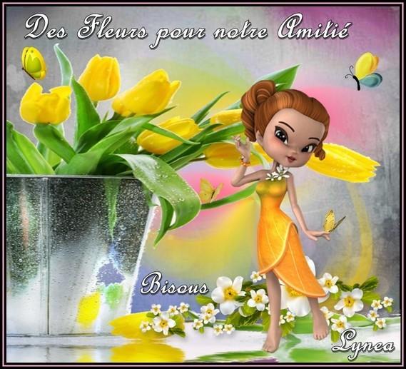 Des fleurs pour notre Amitié bisous de Lynea