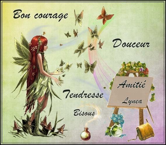 Bon courage douceur tendresse amitié bisous de Lynea