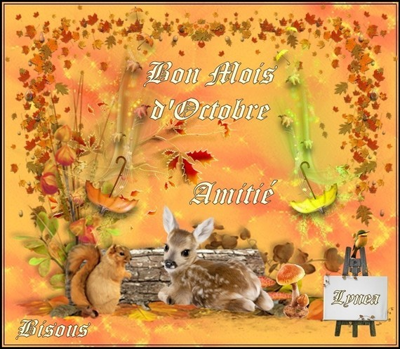 Bon Mois d'octobre, amitié bisous de Lynea