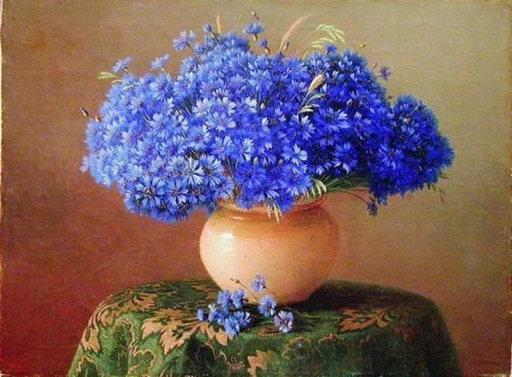 bleues bouquet vase