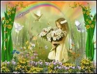 Bisous fillette aux fleurs de Lynea