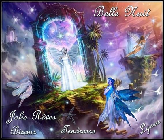 Belle nuit jolis rêves tendresse bisous Lynea