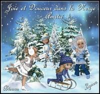 Joie et Douceur dans la neige amitié bisous Lynea