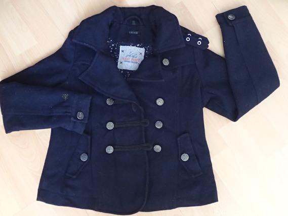 Paletot en laine bleue marine IKKS 10ans BE : 30€