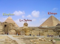 la pyramide de Khephren, kheops et le sphinx