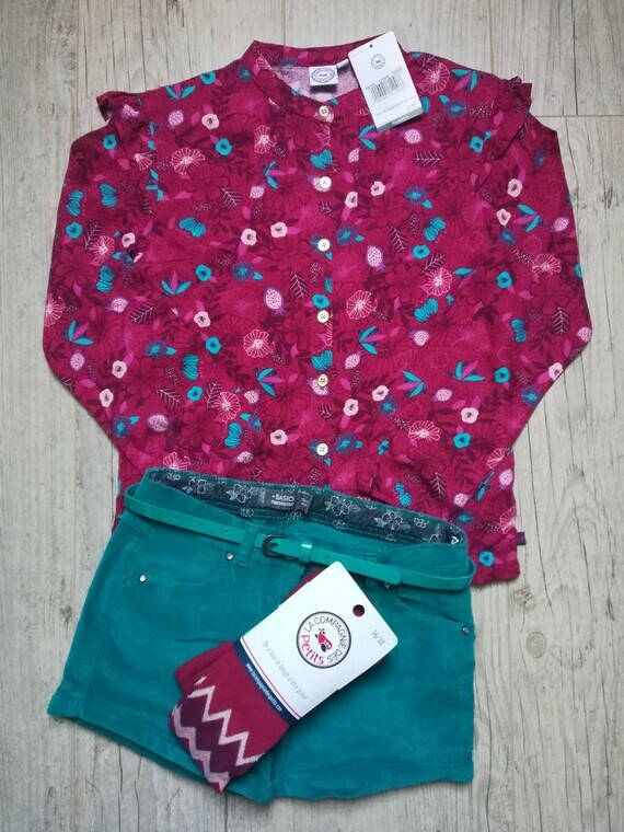 LCDP °le voyage enchanté° blouse gd 10a coll 36-38 orch short turq 10a