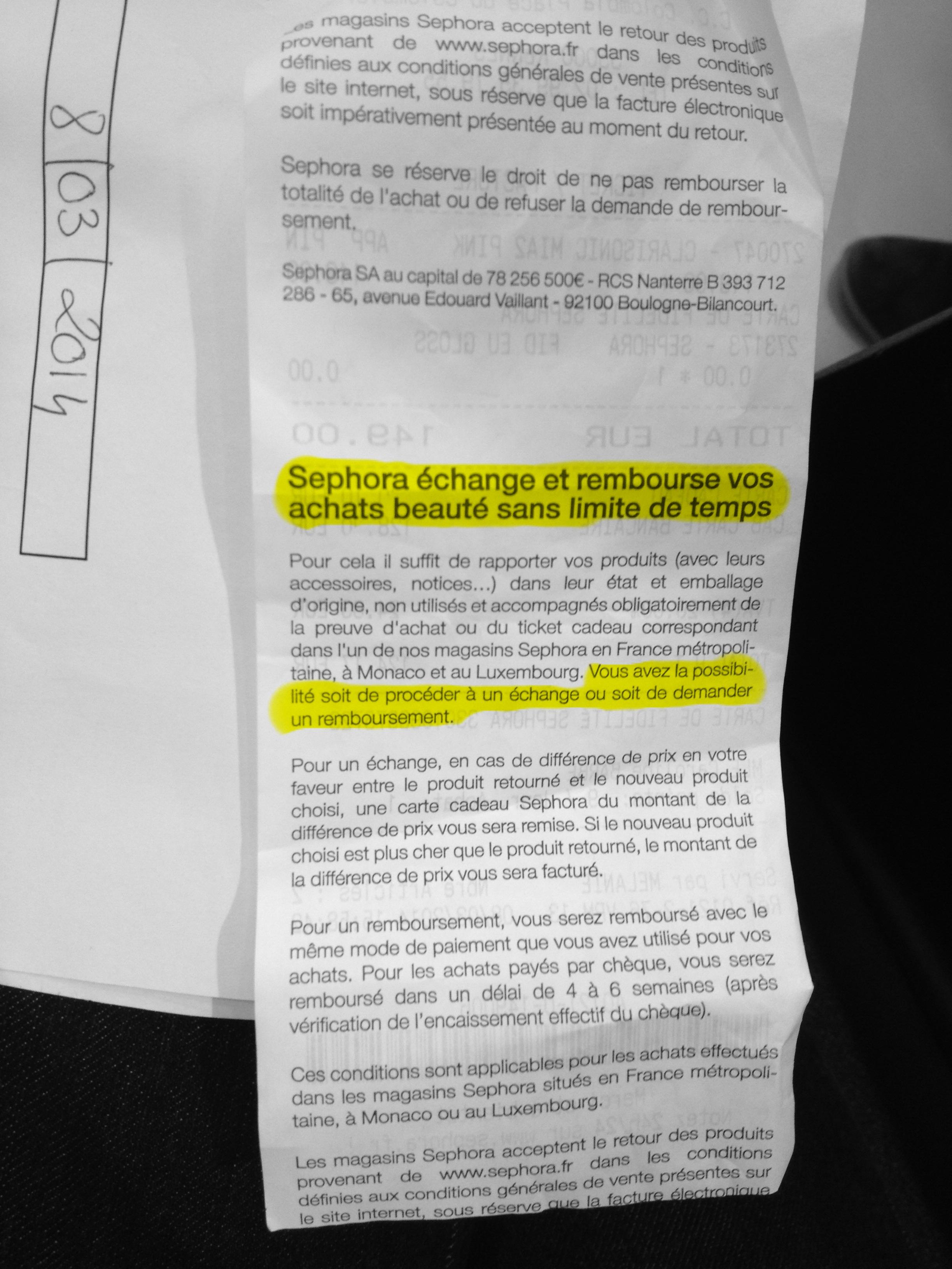 Droit De Forum Vie Et Sephora Refus Justice Remboursement Pratique vN08wmnO
