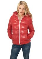 doudoune-femme-urban-classics-rouge-brillant-a-capuche