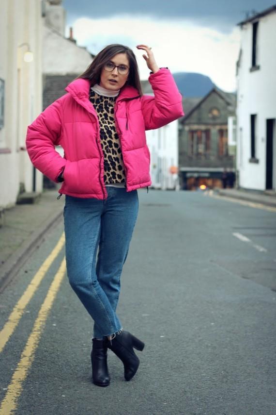 Pink New Look Puffa Jacket Zara Top HM Jeans 8