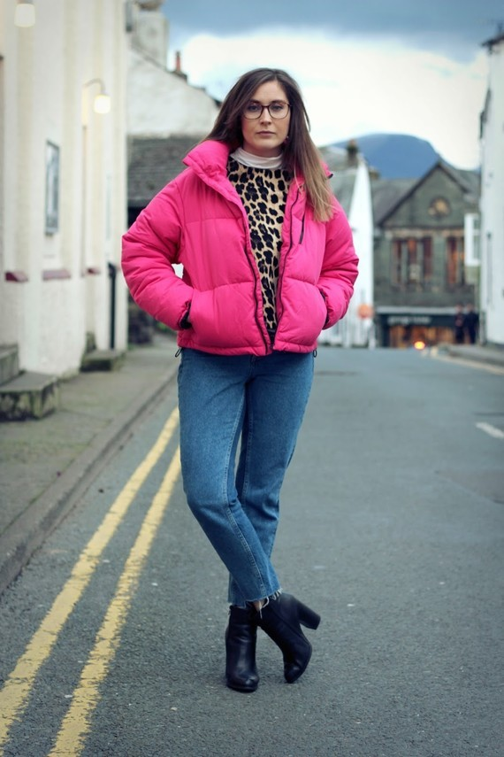 Pink New Look Puffa Jacket Zara Top H&M Jeans 6