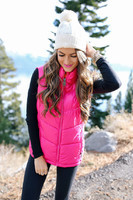 cold weather outfit Sorel boots hot pink puffer vest-5