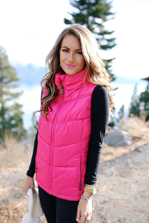 cold weather outfit Sorel boots hot pink puffer vest-12