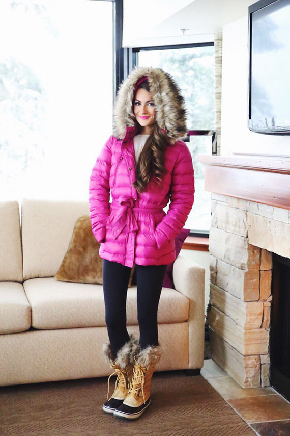 pink coat sorel boots winter outfit inspiration-1