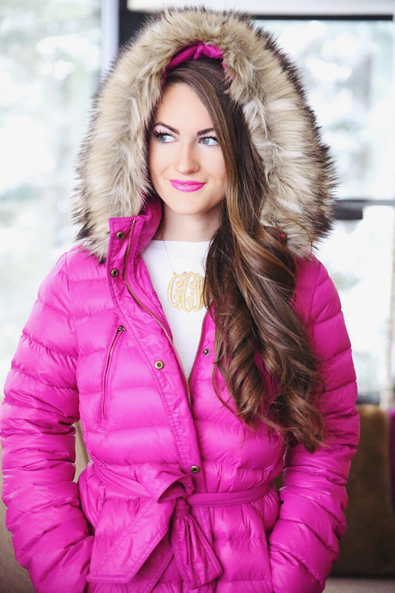 pink coat sorel boots winter outfit inspiration-7