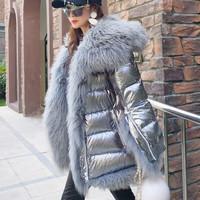 Frauen-Winter-Unten-Jacke-Mantel-Lange-Warme-Silber-Parkas-Mongole