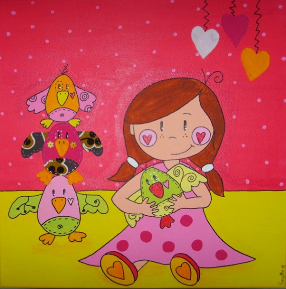 tableau sur toile fille avec doudous