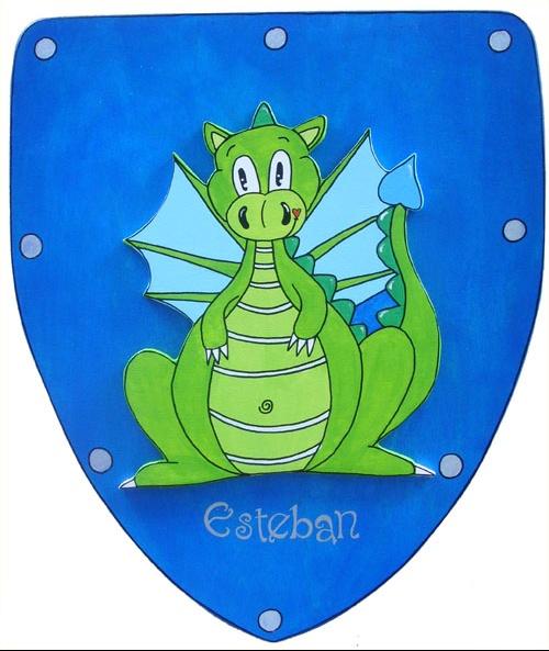 bouclier bleu avec dragon