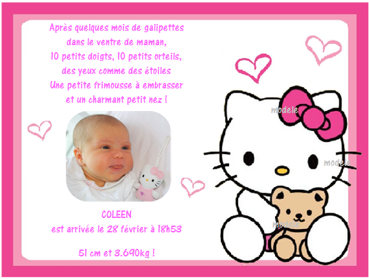 hello kitty coleen idee faire part de naissance photos club doctissimo. Black Bedroom Furniture Sets. Home Design Ideas