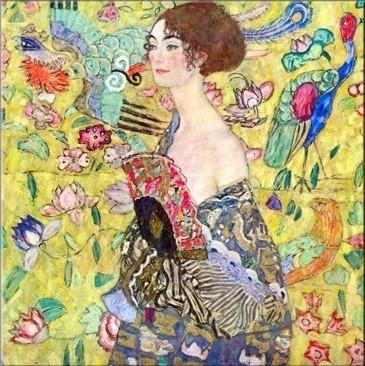 Gustav-Klimt-Dame-avec-un-éventail-