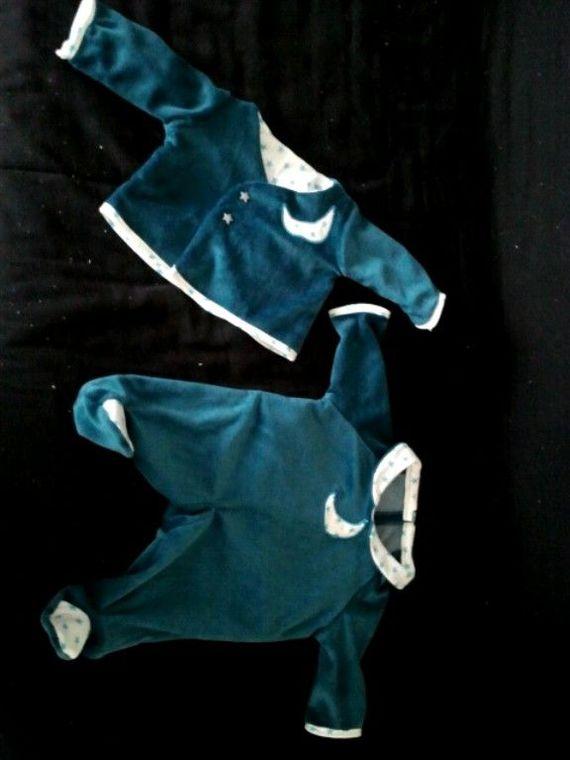 pyjama + gilet bleu étoiles