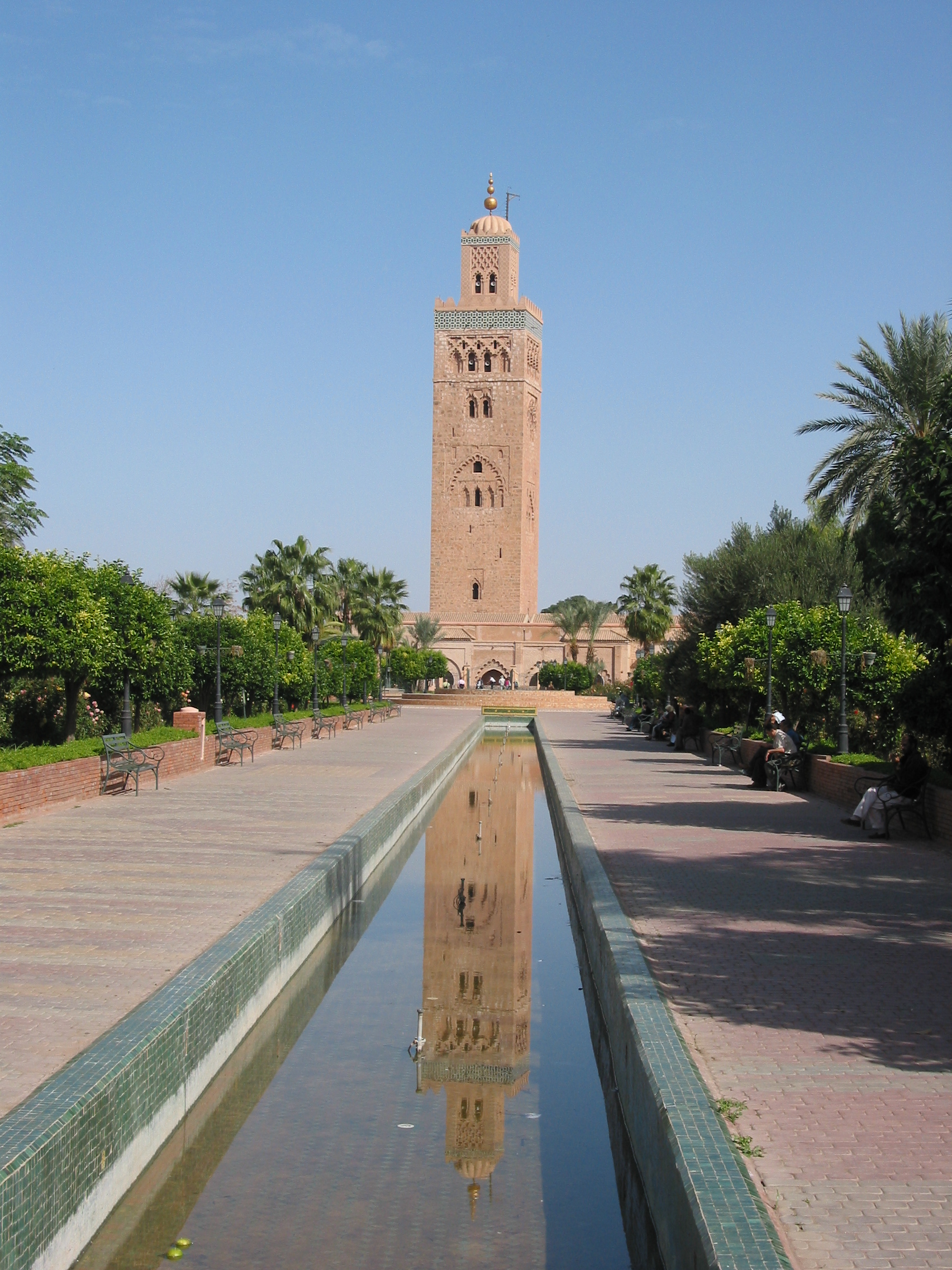 La koutoubia et son reflet dans l 39 eau marrakech maroc for Jardin koutoubia