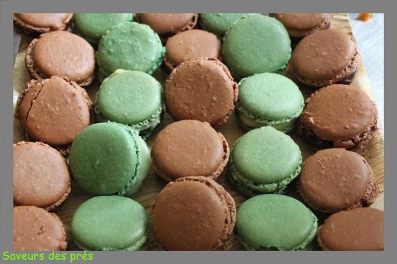 macarons thé vert / chocolat
