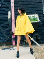 misspouty blog street fashion blogger neon yellow rain hooded cape coat studded biker boots anorak f