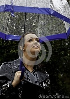 attractive-young-woman-dressed-wet-weather-shiny-black-raincoat-umbrella-30286111