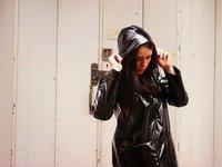 Black patent Petit Bateau raincoat on fashion blogger Emma Louise Layla