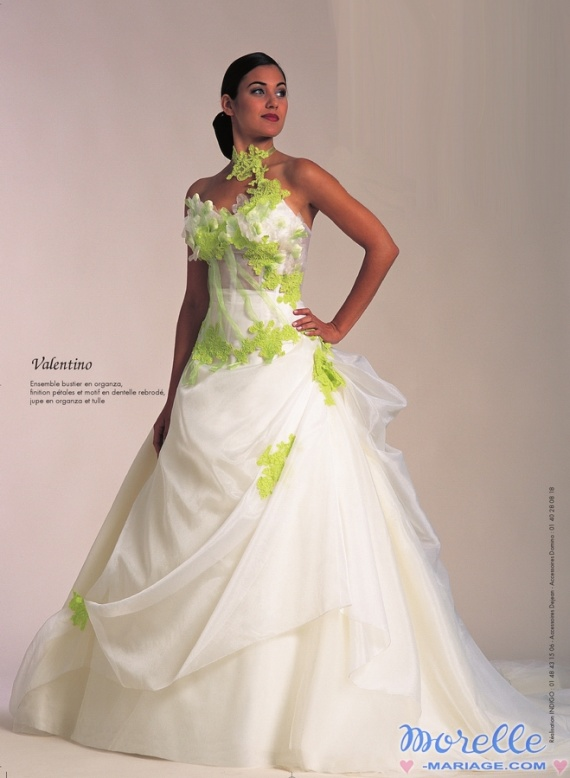 Robe de mariee verte pomme et blanche
