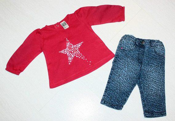 tshirt TAO framboise  jean kitchoun 3 mois 8 euros