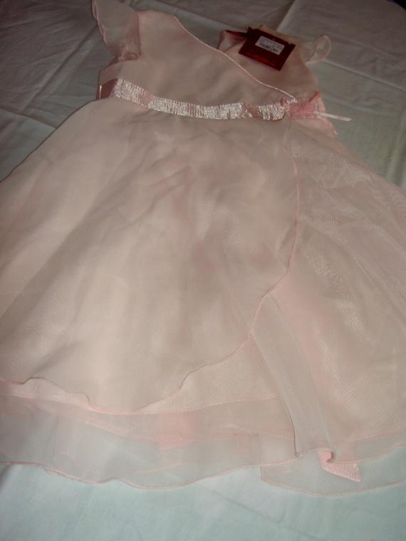 Robe de Cérémonie, rose avec fleur neuve avec étiquette 2-3ans