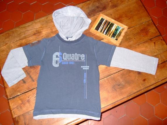 LP61-5 ans T-shirt ML avec capuche effet superposition (3.5€)