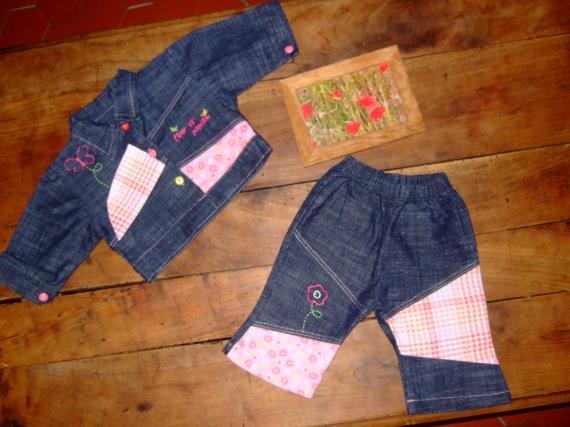 MV55-3mois Ensemble pantalon et veste en jean (5€)