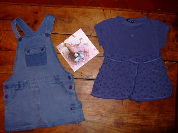 P91-4-5 ans ensemble salopette jupe & t-shirt lili gaufrette (12€) RESERVE