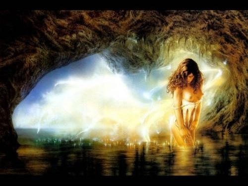 Luis Royo - (Sexy Lady in Mystical Cave)