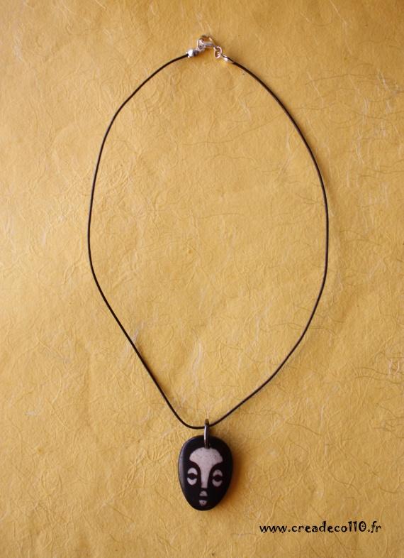 0065-collier pendentif visage africain