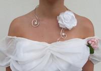 collier mariée rose blanche-ras cou-ouvert-bijou mariée-parure mariage-
