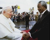 16 septembre 1995 avec Nelson Mandela, Prix Nobel de la Paix.