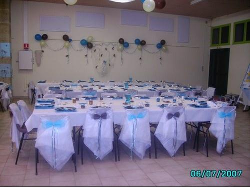 Mariage blanc et bleu for Deco de table bleu et gris