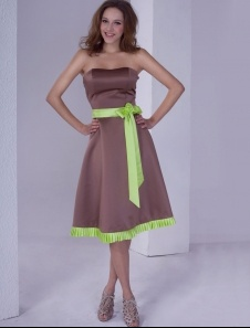 Robe de soiree vert anis et marron