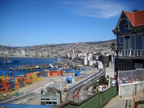 La baie de Valparaiso vue du Cerro Artilleria