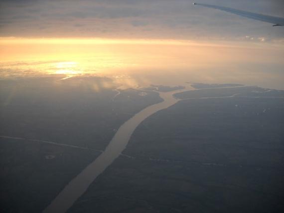 Le delta du Rio Paraná vu d'avion, près de Buenos Aires
