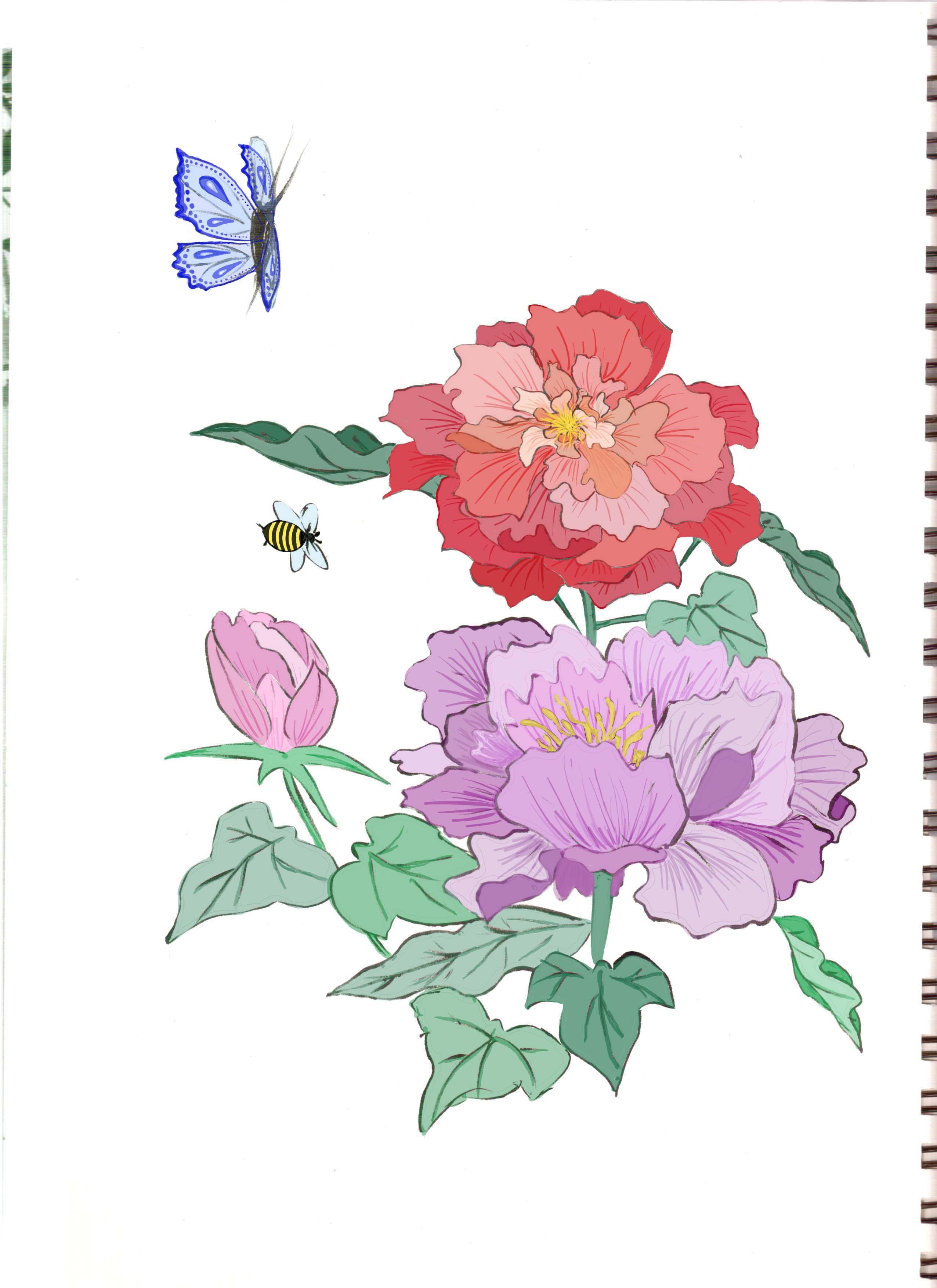 Fleurs japonaises dessin - Fleurs en dessin ...