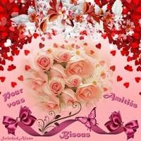 Amitiés Bisous Bouquet de roses saumonées